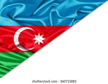 Azerbaijan  flag of silk with copyspace for your text or images and White background