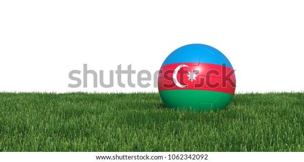 Azerbaijan flag soccer ball lying in grass, isolated on white background. 3D Rendering, Illustration.