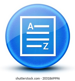 A-Z(list page icon) eyeball glossy elegant blue round button abstract illustration