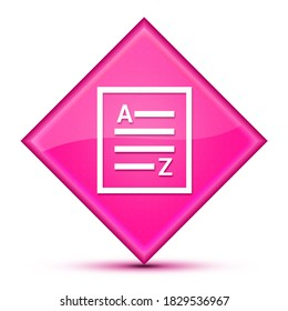 A-Z(list page icon) isolated on luxurious wavy pink diamond button abstract illustration