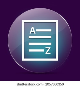 A-Z(list page icon) moonlight glass round button abstract on a dark purple abstract background