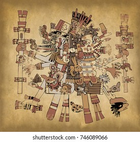 Aztec gods with ancient mesoamerican ornament on old paper