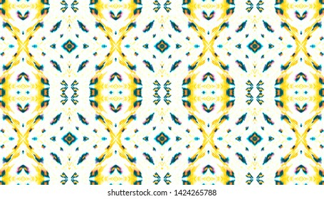 Aztec Pattern Drawn by Hand. Handmade Geometric Illustration. Yellow, Blue and Black Ethnic Ornament. Folk Tie Dye Kaftan Design. Seamless Aztec Pattern Watercolor Drawn.