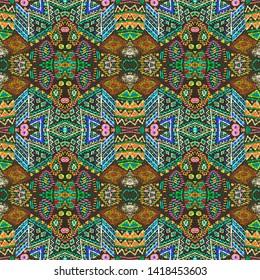 Aztec pattern. Seamless african print. Tribal folk ornament. Geometric backdrop. Seamless geometric print. Vintage patchwork. Black, cyan, pink, green, gold aztec pattern.