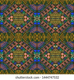 Aztec pattern. Seamless african print. Bohemian motif. Modern mexican style. Simple design. Textile ornament. Tribal texture. Black, cyan, pink, green, gold aztec pattern.