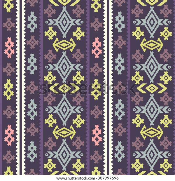 Aztec tribal art colorful seamless pattern. Ethnic geometric print. Folkloric border repeating background texture. Fabric, cloth design, wallpaper, wrapping