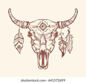 Aztec tribal buffalo skull t-shirt print, tattoo. Dead animal cow skull totem with feathers. Hand drawn skull cow illustration