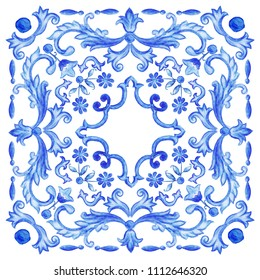 Azulejos - Portuguese tiles blue watercolor pattern. Traditional tribal ornament