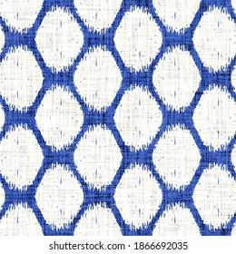 Azurblau gefangene Netzwäsche, Texturhintergrund. Nahtlose Textilwirkung. Beklemmendes indigofarbenes Muster. Stranddekor am Küstenhof, moderne Segelmode oder weiche Möbelgewebe, Tuch