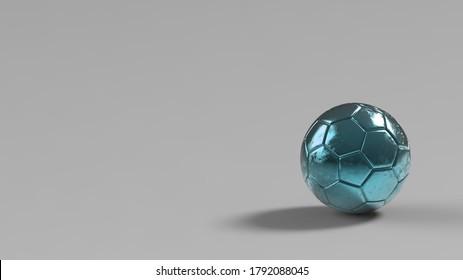 Azure soccer metal ball isolated on black background. Football 3d render illlustration.