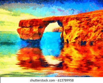 Azure window on Malta oil painting