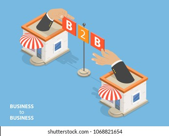 B2B flat isometric . Concept of situation where one business makes commercial transaction with another.