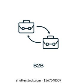 B2B icon outline style. Thin line creative B2B icon for logo, graphic design and more.