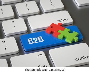 B2B key on the keyboard, 3d rendering,conceptual image.