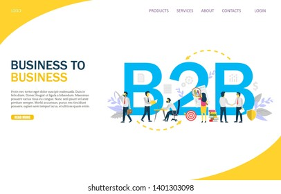 B2B website template, web page and landing page design for website and mobile site development. Business to business concept.