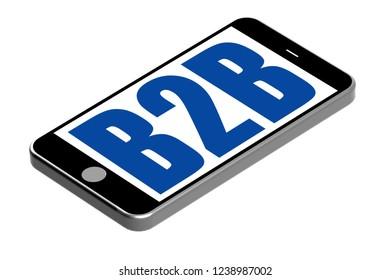 B2B word on mobile phone, 3D rendering
