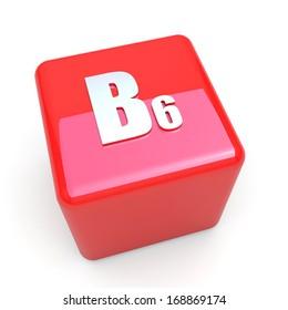 B6 vitamin symbol on glossy red cube