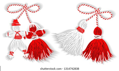 Baba Marta Day. Martenitsa, white and red strains of yarn, Bulgarian folklore tradition, welcoming the spring in March, adornment symbol, isolated on white  background  illustration