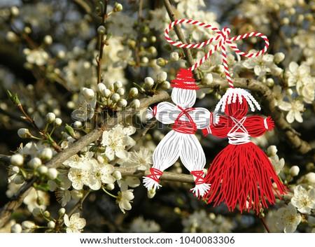 Baba marta day martenitsa white red stock illustration 1040083306 baba marta day martenitsa white and red strains of yarn bulgarian folklore tradition m4hsunfo