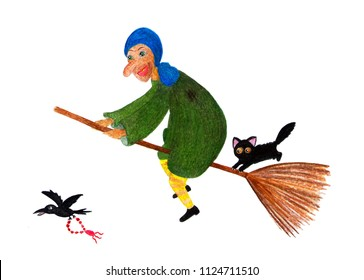 Baba Yaga. Watercolor illustration painted by hand. Fabulous character of a woman yaga. The old lady is flying on a broom, next to a black cat. Illustration for a children's book.