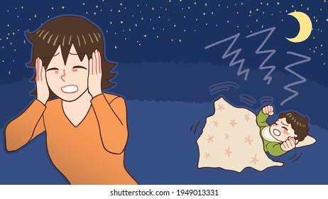 夜泣きをする赤ちゃん、産後うつ病の母親