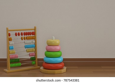 Baby abacus and pyramid on wooden floor 3D illustration.