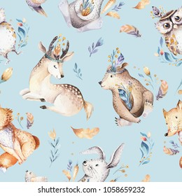 Baby animals nursery isolated seamless pattern with bannies. Watercolor boho cute baby fox, deer animal rabbit and bear isolated illustration for children. Bunny image