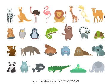 Baby animals set. Colorful funny animals on white.
