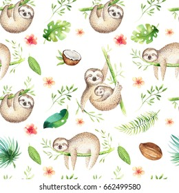 Baby animals sloth nursery isolated seamless pattern. Watercolor boho tropical drawing, child tropical drawing cute palm tree leaves, tropic green texture,exotic flower. Aloha backgraund
