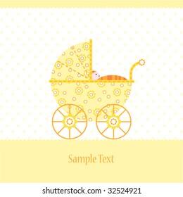 baby boy arrival announcement card design stock illustration