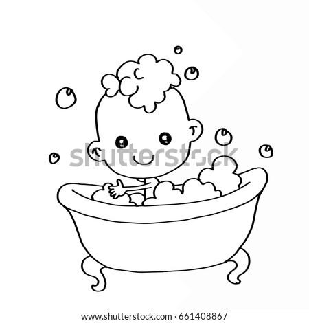 Baby Bathing Bathtub Coloring Stock Illustration