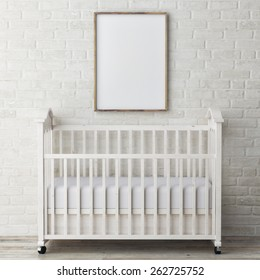 baby bed with mock up poster, 3d illustration
