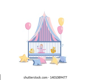 Baby in a bed under a tabby canopy. Little girl in the playpen, decorated with pink balloons and colorful pillows. It's a girl flat cartoon illustration isolated in white background