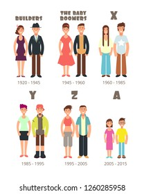 Baby boomer, x generation people icons