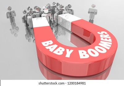 Baby Boomers Demo Group Magnet People 3d Illustration