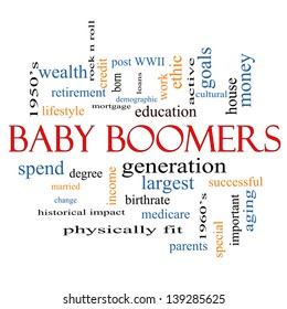 Baby Boomers Word Cloud Concept with great terms such as generation, largest, demographic and more.