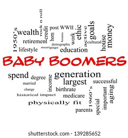Baby Boomers Word Cloud Concept in red caps with great terms such as generation, largest, demographic and more.