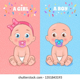 Baby boy and baby girl set, posters of pink and blue color symbolizing gender of kid, child with dummy wearing diaper, isolated on raster illustration