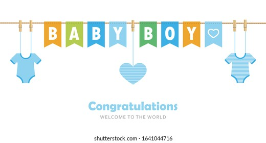 baby boy party flag welcome greeting card for childbirth illustration