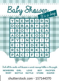 Baby boy shower invitation card with word puzzle