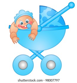 Baby Boy in Stroller Isolated on White Background Illustration