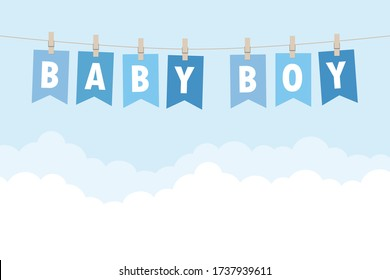baby boy welcome greeting card for childbirth illustration