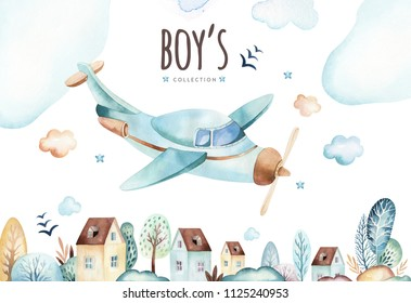 Baby boys world. Cartoon airplane and waggon locomotive watercolor illustration. Child birthday set of plane, air vehicle, transport elements. Baby shower card