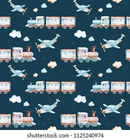 Baby boys world. Cartoon airplane, plane and waggon locomotive watercolor illustration patterns. Child toys birthday backgraund transport elements seamless pattern