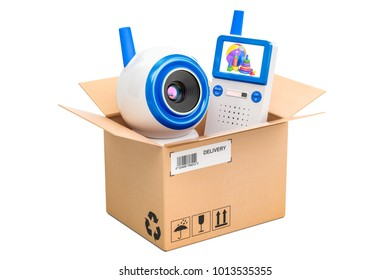 Baby cam and audio baby monitor  inside parcel, delivery concept. 3D rendering isolated on white background