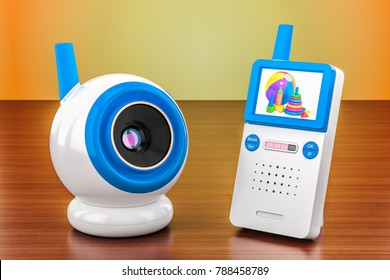 Baby cam and audio baby monitor on the wooden table. 3D rendering