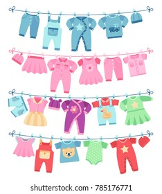 Baby clothes drying on clothesline illustration. Clothing baby clean, garment on clothesline