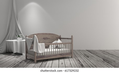 Baby cot in a white room made of wood.3d rendering