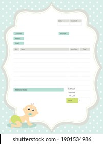 Baby Crawling Baby Themed Blank Invoice