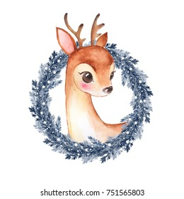 Baby Deer. Cute fawn and Christmas wreath. Watercolor illustration 2